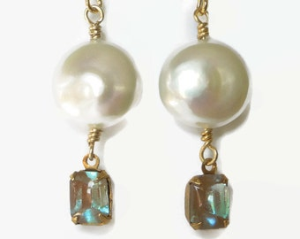 White Coin Pearl earrings saphiret glass, drop dangle. Marsala red.