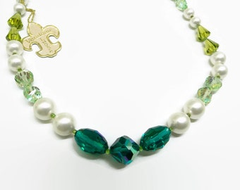 On Hold till Feb 5. Vendome Necklace. Green crystals, pearls. Vintage, signed