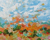 Landscape Abstract Acrylic Painting Giclee Print Impressionist Art Peach Blue Made To Order Large Fine Art Print Wall Decor by Linda Monfort