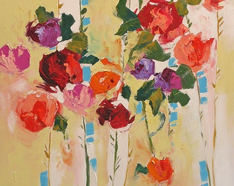 Acrylic Abstract Floral Painting Giclee Print Made To Order Violet Red Peach Roses Impressionist Fine Art Print Wall Decor by Linda Monfort