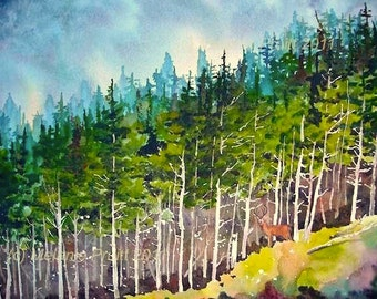 Forest original Pacific Northwest Nature Wildlife Deer watercolor painting by Melanie Pruitt ebsq
