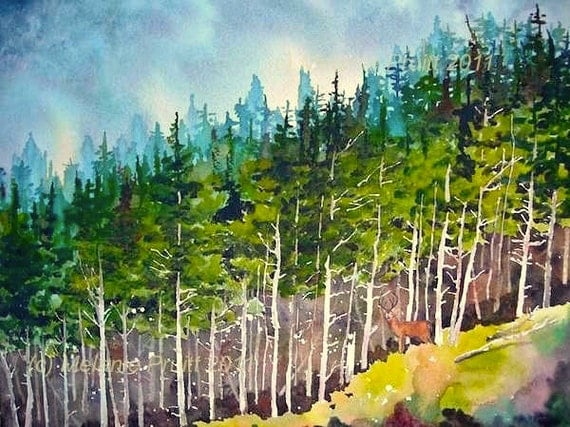 Forest ORIGINAL Pacific Northwest Nature Wildlife Deer watercolor painting by Melanie Pruitt EBSQ Mat and Framed