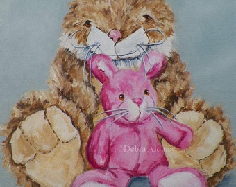Family Portrait Mom Baby Stuffed Fuzzy Toy Bunny Brown Pink Baby Rabbit Original Oil Painting Portrait by Artist Debra Alouise