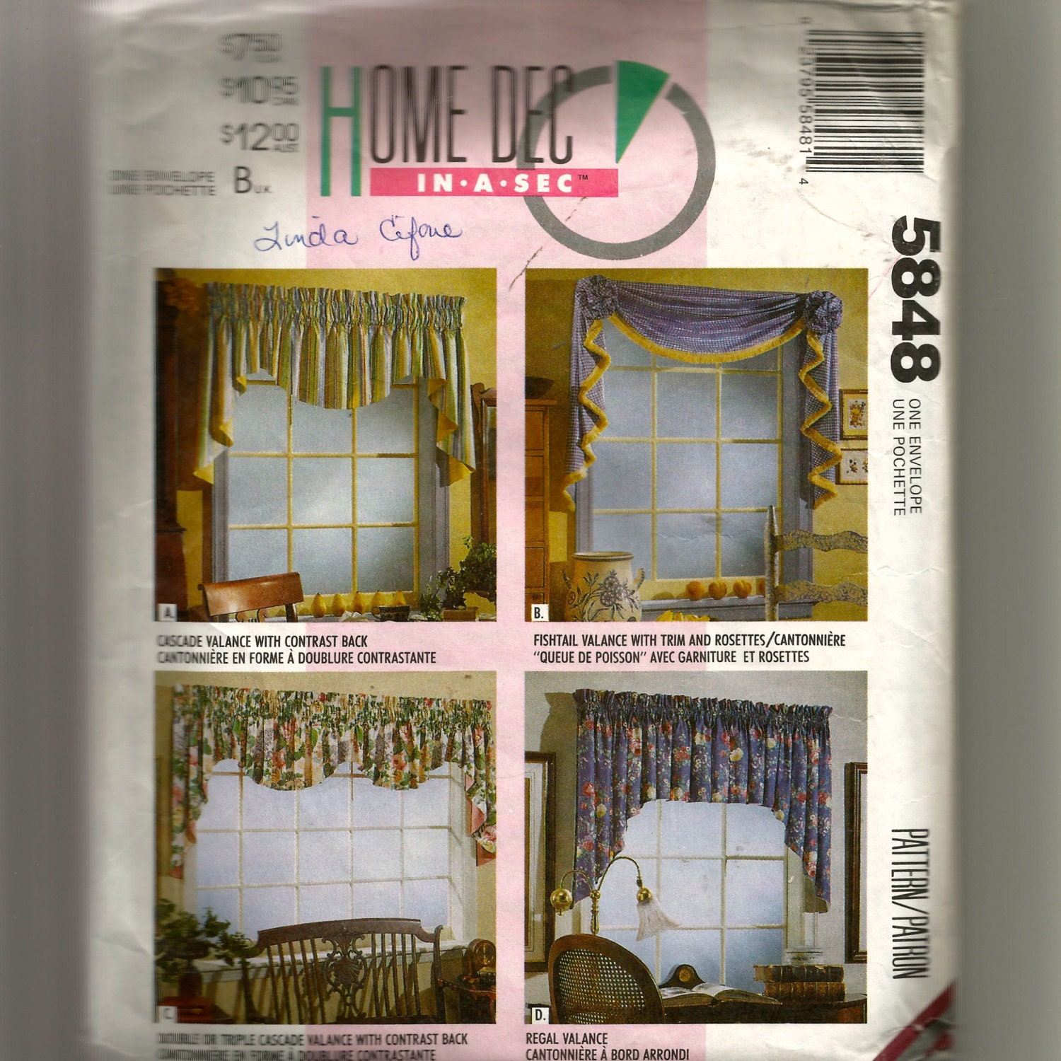 McCall's Window Treatments Pattern 5848 By NewAgain On Etsy