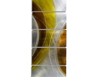 Brown, Silver and Gold Modern Metal Painting - Abstract Wall Sculpture - Home Decor - Golden Caramel by Jon Allen