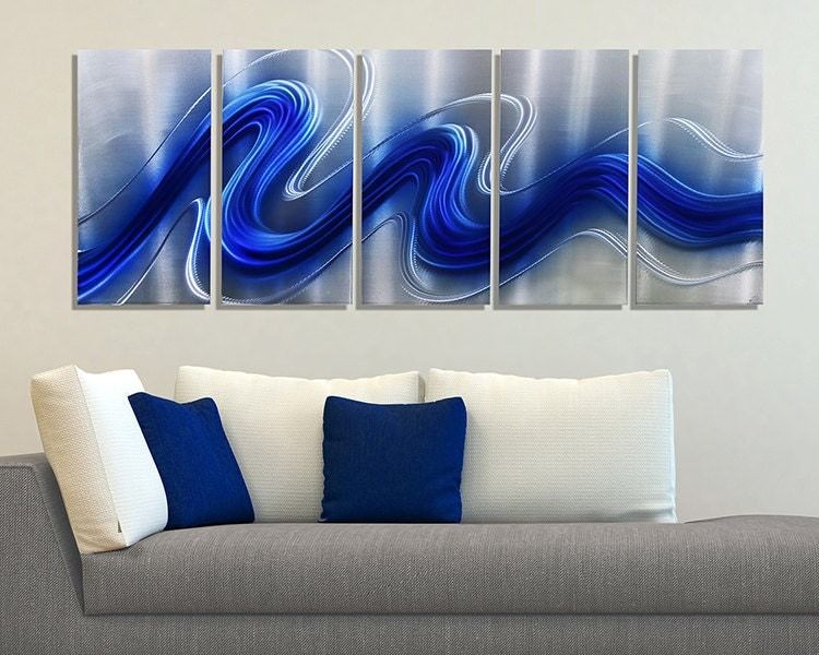 New Blue Amp Silver Modern Metal Wall Sculpture By