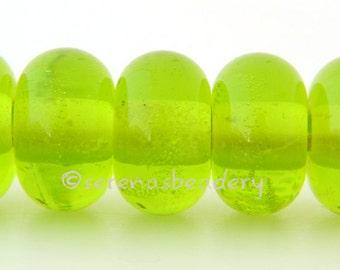 Lampwork Spacer Glass Bead 5 MEDIUM GRASS GREEN Glossy & Matte Handmade Donut Rondelle