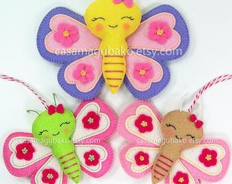 PDF Pattern - Butterfly Felt Pattern - Felt Butterfly Ornament Pattern - Butterfly Softie Pattern - DIY Instant Download