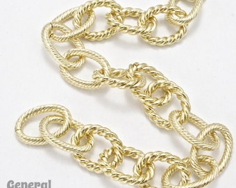 5mm x 9mm Gold Textured Oval Link Chain #CCA256