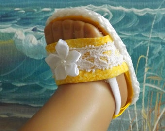 "Doll Sandals for 18"" doll and 13-14"" doll and 14.5"" doll (You Select Size) Yellow Shoes With White Lace Accents"