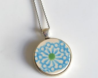 Simple Circle Recycled China Pendant - Turquoise and Green Modern