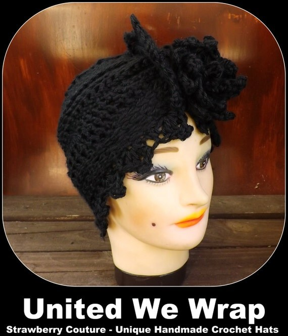 Black Crochet Hat Womens Hat Trendy, Womens Crochet Hat, Womens Turban Hat, Crochet Flower, Black Hat, ALEJANDRA Turban Hat, Crochet Hat