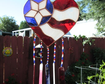 Heart, Patriotic, 7.25 x 13 inches, of Red, White & Blue Stained Glass, Suncatcher/Windchime