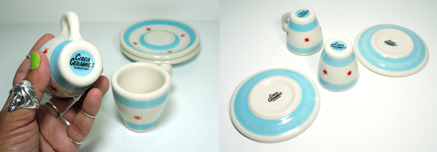 a pair of espresso cups w/saucers. chicago flag. Made to Order.