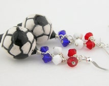 Red white blue soccer sterling earrings - USA World Cup