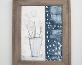 Framed Original Flower Painting, Navy Blue and White Painting , Ready to Hang Wall Art