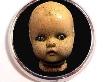 Doll Head Pill Box case Pillbox Victorian Creepy Dolls Goth Gothic Dark Art Weird Toy Oddity Strange