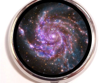 Galaxy Stars Pill Box case Pillbox Celestial Outerspace Cosmic Outer Space Universe Astronomy Astronimcal Lunar Trinket Box Guitar Pick Box