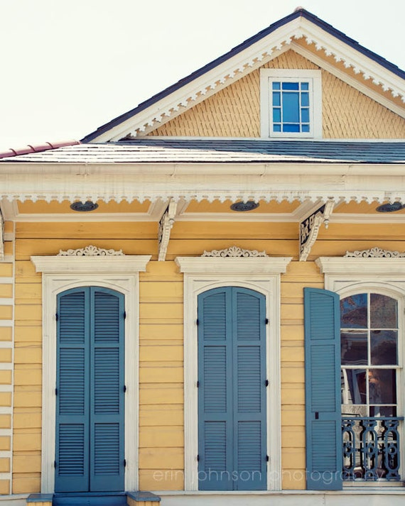 new orleans art creole cottage yellow home decor blue wall
