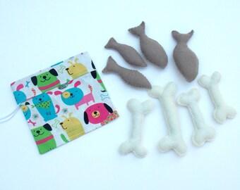 Deluxe Felt Pet Food Set - Play Pet Dog Food - Play Pet Cat Food - Pretend Pet Food - Pretend Cat Food - Set of 8 in Carrying Bag
