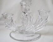 Vintage Clear Depression Glass Candelabra 3 Arm Fostoria Baroque Centerpiece Entertaining