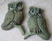 Vintage 1967 Mint Green Owls Large Birds on a Branch Wall Plaques Universal Statuary Corp. Retro Kitsch Decor Set of 2