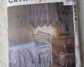 McCall's 8373 Sewing Pattern Baby Crib Comforter Dust Ruffle Bumper Window Caddy Laundry Bag Basket Liner
