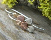 teensie mixed metal dot earrings -  14k gold, copper and sterling silver