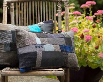 Patchwork Cushion Small from Upcycled jacket suiting remnants MADE TO ORDER