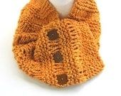 Button Cowl in Golden Orange FREE US Shipping