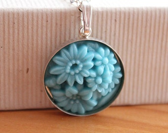 Vintage Blue Flower Glass Necklace - Sterling Silver - Chain - Pendant