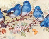 Blue Birds Applique Fabric Block Quilt Panel - Quilting, Sewing, Crazy Quilting, Craft Projects Bird Cotton Fabric Block