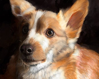 Corgi Portrait I Custom Corgi Pet Portrait  I  Corgi Painting From Your Photo I Dog Portraits by NC