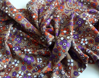 Vintage Fabric - funky purple and orange flowers - a crepe fabric fat quarter