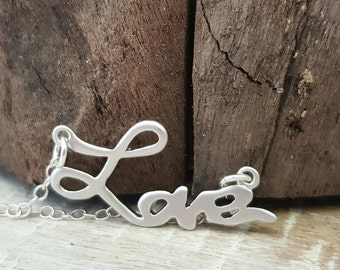 Silver Love Necklace, Love Sterling Silver Necklace