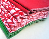 Set of 9 Reusable Flannel 2-ply 11 x12  Wipes Unpaper Towels (Red Green Paisley) by tamarack