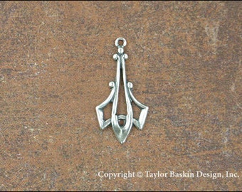Antiqued Sterling Silver Plated Drop Earring Victorian Component (item 1142 AS) - 6 Pieces