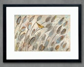 In the Cattails Horizontal Bird Art Print in Neutrals