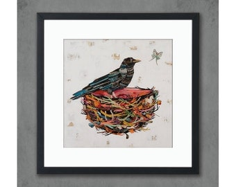 Crow Moon Colorful Birds Nest Paper Print