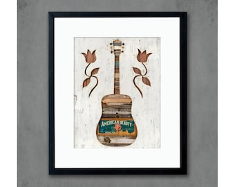 American Beauty Guitar Art Print
