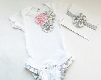 SHABBY CHIC...Ruffle legged one piece bodysuit... in our pink chevron fabric