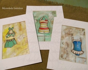 Set of 3 Original Mixed Media Cereal Box paintings - Vintage Swimsuits - Free US shipping