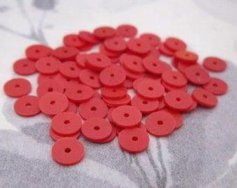 200 pcs. vintage red plastic disk saucer matte sequin beads 6x.5mm - r212