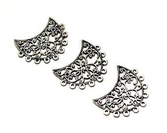 Small Silver Crescent Moon- focal pendant finding- jewelry supplies- jewelry findings- silver findings- lead free jewelry findings