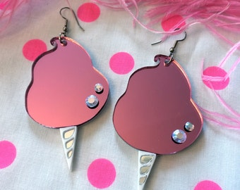 Pink Cotton Candy Acrylic Earrings