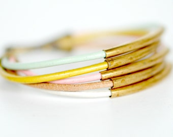 pale pastel Leather Cord and Multi Tube Bangle Wrap Bracelet