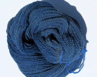 Blue Alpaca and Wool Yarn for Knitting, Crochet, Felting, and Weaving - Hand dyed, Farm Grown, DK Weight - 250 yards / 3 ounces