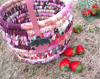 STRAWBERRY PICKING  textile art BASKET bucket