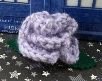 Jo Grant - Crocheted Rose Hair Clip - Lavender Fuzzy (SWG-HC-DWJG01)