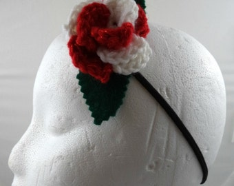 Sarah Jane Smith - Crocheted Rose Headband - Sparkly Red and White Rose (SWG-HH-DWSJ03)